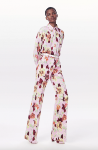 What to wear to a wedding - Classic Shirt & High Waisted Floral Flared Trouser by Victoria Beckham